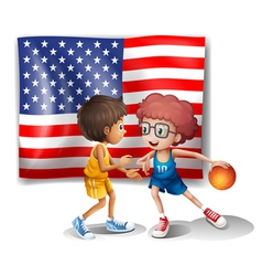 The USA flag and the two basketball players vector image