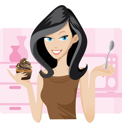 girl cupcake vector image