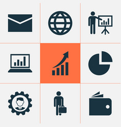 Job icons set collection of increasing envelope vector