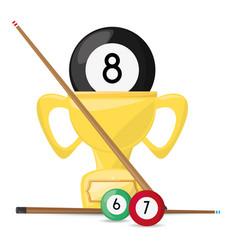 nice trophy of pool billiard game vector image