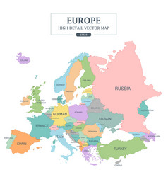 europe map high detail separated all countries vector image