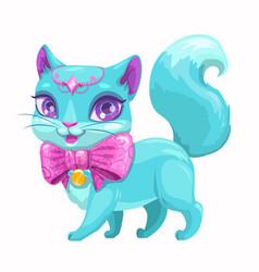 Cute cartoon beautiful princess cat vector