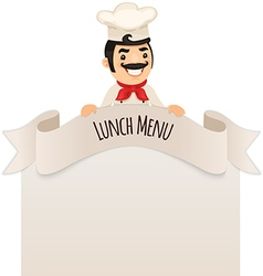 Male chef looking at blank menu on top vector