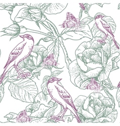 Seamless background with roses and birds vector image