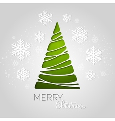 Merry christmas tree greeting card paper design vector