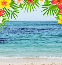Happy summer time poster with frangipani vector