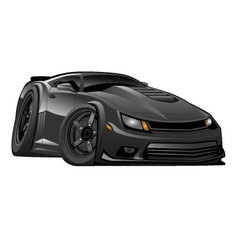 Black modern american muscle car vector
