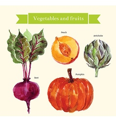 Water color vegetables vector
