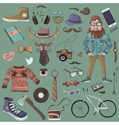 Colored hand-drawn hipster style vector