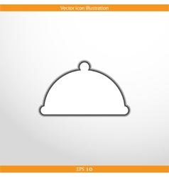Restaurant cloche web flat icon vector