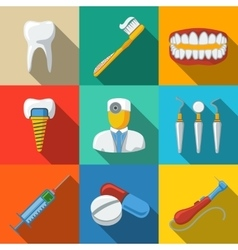 Dental flat long shadow icons set - tooth jaw vector