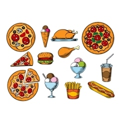 Fast food drinks and desserts menu snacks vector