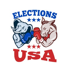 Democrat donkey republican elephant mascot usa vector