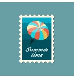 Parasailing summer kiting activity stamp vector