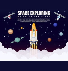 Space shuttle ship rocket launch exploring and vector image