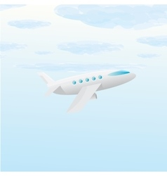 airplane icon cartoon plane in blue sky vector image vector image