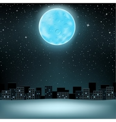 Big blue moon over city vector