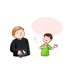 Boy said to pastor with balloon speech vector