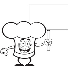 Cartoon chef hat holding a sign vector image vector image