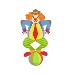 Colorful friendly clown balancing on ball in vector