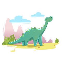 Cute dinosaur on the nature background vector