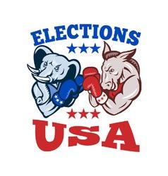 Democrat donkey republican elephant mascot usa vector