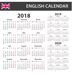 English calendar for 2018 2019 and 2020 scheduler vector