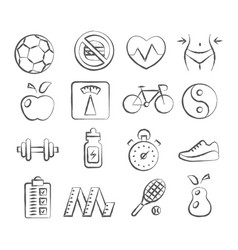 health and fitness doodle icons vector image