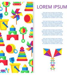 kids toys banner or poster design vector image vector image