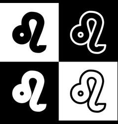 Leo sign black and white vector