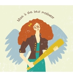 Muse motivation art work pretty woman with wings vector