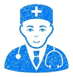Physician grainy texture icon vector