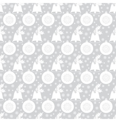 Seamless pattern with christmas bell with holly vector