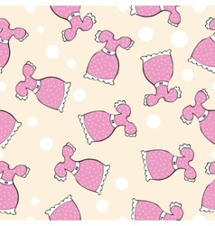 Seamless pattern with doodle pink dresses vector image