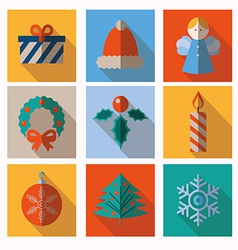 Set of modern style Christmas flat icons vector image vector image