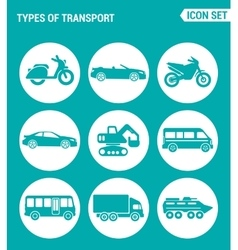 set of round icons white Types of transport vector image vector image
