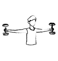 Sketch man workout barbell fitness design vector