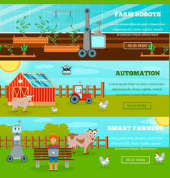 Smart farming horizontal banners vector