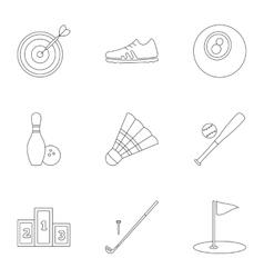 Sports equipment icons set outline style vector