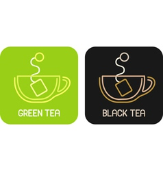 tea of green tea and tea of black tea - isolated i vector image vector image
