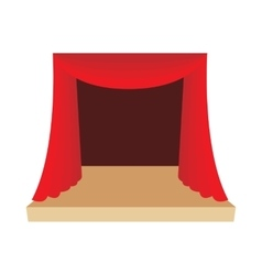 Theater stage with red curtain icon cartoon style vector