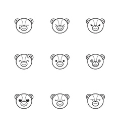 trendy line style set of funny cartoon bear vector image