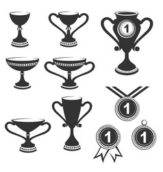 Trophy cups icon set vector