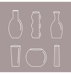 Vase outline icon set ceramic pottery glass vector