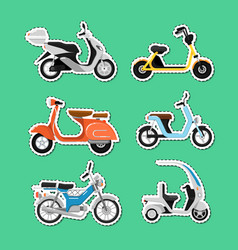 vintage and modern scooters labels set vector image