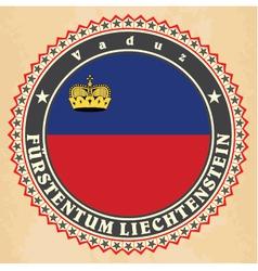 Vintage label cards of liechtenstein flag vector