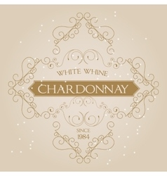 Vintage Ornament White Wine Label template vector image vector image