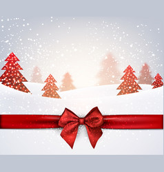Winter holiday background with red bow vector