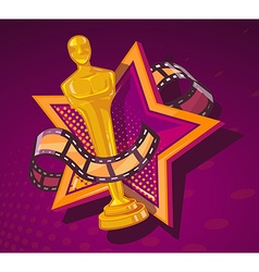 yellow cinema award with big star and fil vector image