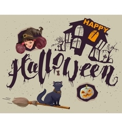 Happy halloween set of accessories for greeting vector